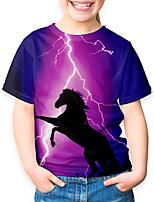cheap -Kids Boys' Basic Horse Animal Print Short Sleeve Tee Purple