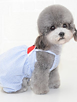 cheap -Dog Dress Pajamas Stripes Fruit Casual / Sporty Cute Wedding Casual / Daily Dog Clothes Breathable Blue Pink Costume Cotton S M L XL XXL
