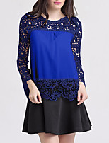 cheap -Women's Blouse Solid Colored Embroidered Round Neck Tops Fall Black Blue