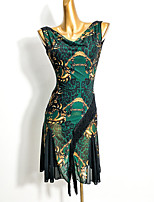 cheap -Latin Dance Dress Tassel Pattern / Print Split Joint Women's Performance Sleeveless Mesh