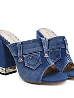 cheap -Women's Slippers & Flip-Flops Summer Block Heel Open Toe Daily Solid Colored Denim Black / Blue