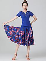 cheap -Ballroom Dance Skirts Pattern / Print Ruching Split Joint Women's Training Performance Short Sleeve Natural Polyester