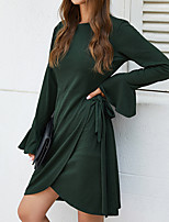 cheap -Women's A-Line Dress Knee Length Dress - Long Sleeve Solid Color Ruffle Patchwork Spring Summer Casual Daily Flare Cuff Sleeve 2020 Black Red Green Navy Blue S M L XL