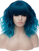 cheap -Synthetic Wig Curly Natural Wave Short Bob With Bangs Wig Medium Length Brown Blonde Pink Blue Green Synthetic Hair 14 inch Women's Anime Cute Party Ombre