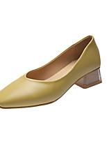 cheap -Women's Heels Block Heel Square Toe Daily Office & Career Leather Yellow / Khaki / Green