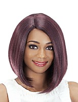 cheap -Synthetic Wig Natural Straight Bob Side Part Wig Medium Length Wine Red Synthetic Hair 14 inch Women's Party New Arrival Comfortable Red