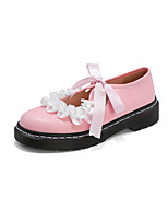 cheap -Girls' Flats Flower Girl Shoes PU Comfort Loafers Big Kids(7years +) Bowknot / Ruffles Black / Red / Pink Fall / Party & Evening