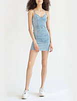 cheap -Women's Strap Dress Short Mini Dress - Sleeveless Solid Color Backless Summer V Neck Casual Sexy Daily Going out Cotton 2020 Light Blue S M L