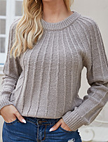 cheap -Women's Casual / Daily Knitted Solid Colored Pullover Long Sleeve Sweater Cardigans Crew Neck Fall Winter Khaki