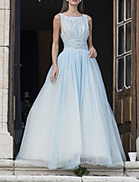 cheap -A-Line Color Block Sparkle Engagement Prom Dress Boat Neck Sleeveless Floor Length Tulle with Crystals 2020