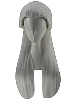 cheap -Synthetic Wig Kamisama Kiss Straight Free Part Wig Long Silver grey Synthetic Hair 28 inch Men's Party Silver
