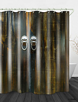cheap -Atmospheric Wooden Door Digital Print Waterproof Fabric Shower Curtain For Bathroom Home Decor Covered Bathtub Curtains Liner Includes With Hooks