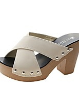 cheap -Women's Sandals Summer Fall Pumps Open Toe Casual Daily Home Rivet Faux Leather Black / Yellow / Green