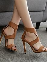 cheap -Women's Sandals Summer Stiletto Heel Open Toe Daily PU Light Brown / Black