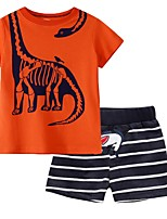 cheap -Kids Boys' Basic Striped Short Sleeve Clothing Set Orange