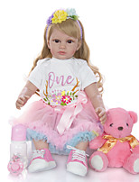 cheap -KEIUMI 24 inch Reborn Doll Baby & Toddler Toy Reborn Toddler Doll Baby Girl Gift Cute Lovely Parent-Child Interaction Tipped and Sealed Nails Half Silicone and Cloth Body 24D05-C139-S12-T14 with
