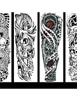 cheap -6 Sheets Randomly Full Arm Temporary Tattoo Tattoo Designs Konsait Extra Temporary Tattoo Black tattoo Body Stickers for Man Women QB17-QB24