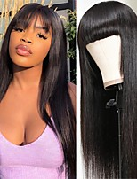 cheap -Remy Human Hair Wig Long Natural Straight Neat Bang Natural Best Quality Capless Brazilian Hair Women's Natural Black #1B 10 inch 12 inch 14 inch