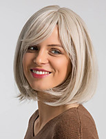 cheap -Synthetic Wig Straight Bob Neat Bang Wig Short Brown Grey Beige Blonde / Bleached Blonde Synthetic Hair 12 inch Women's Women Synthetic Sexy Lady Dark Gray Brown hairjoy