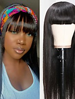 cheap -Remy Human Hair Wig Short kinky Straight Middle Part With Bangs Natural Black Party Women Easy dressing Machine Made Capless Brazilian Hair Malaysian Hair Women's Girls' Natural Black #1B 18 inch