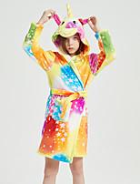 cheap -Kid's Kigurumi Pajamas Bathrobe Oodie Unicorn Flying Horse Onesie Pajamas Flannel Fabric Orange Cosplay For Boys and Girls Animal Sleepwear Cartoon Festival / Holiday Costumes / Bath Robe