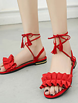 cheap -Women's Sandals Roman Shoes / Gladiator Sandals Summer Flat Heel Open Toe Daily Suede Black / Red