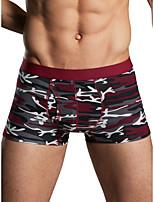 cheap -Men's Print Boxers Underwear - Normal Low Waist Wine Army Green Khaki M L XL