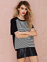 cheap -Women's Tee / T-shirt Short Sleeves Stripe Oversized Sport Athleisure T Shirt Lightweight Breathable Soft Exercise & Fitness Running Everyday Use Daily Casual / Stripes