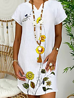 cheap -Women's A-Line Dress Short Mini Dress - Short Sleeve Floral Summer V Neck Casual Chinoiserie Loose 2020 White Yellow Army Green Gray S M L XL XXL XXXL