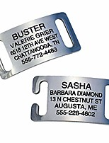 cheap -slide-on pet id tags, personalized dog and cat tags, silent, chew-proof stainless steel collar tags open ends