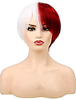 cheap -Synthetic Wig Natural Straight With Bangs Wig Short Red / White Synthetic Hair 8 inch Men's Anime Fashionable Design Cosplay Red