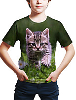 cheap -Kids Toddler Boys' Active Street chic Cat 3D Animal Print Short Sleeve Tee Green