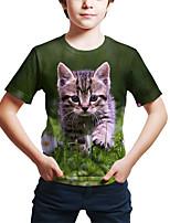 cheap -Kids Toddler Boys' Active Street chic Cat 3D Animal Print Short Sleeve Tee Green