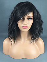 cheap -Synthetic Wig Curly Asymmetrical Wig Long Black Synthetic Hair 16 inch Women's Fashionable Design Classic Fluffy Black