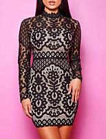 cheap -Women's Sheath Dress Short Mini Dress - Long Sleeve Solid Color Print Summer Sexy Daily 2020 Black S M L XL