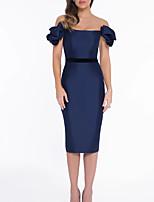 cheap -Sheath / Column Elegant Minimalist Wedding Guest Cocktail Party Dress Off Shoulder Short Sleeve Knee Length Satin with Sleek 2020