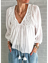 cheap -Women's Shirt Solid Colored Lace Trims V Neck Tops Loose Cotton All Seasons White Black Purple
