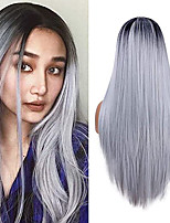 cheap -Synthetic Wig kinky Straight Middle Part Wig Long Silver grey Synthetic Hair 22 inch Women's New Arrival Ombre Hair Middle Part Dark Gray