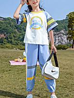 cheap -Kids Girls' Active Daily Wear Blue Print Color Block Patchwork Short Sleeve Regular Regular Clothing Set Blue
