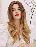 cheap -Synthetic Wig Curly Body Wave Middle Part Side Part Wig Very Long Ombre Brown Synthetic Hair 24 inch Women's Cosplay Color Gradient Middle Part Brown Ombre BLONDE UNICORN / African American Wig