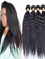 cheap -4 Bundles Hair Weaves Brazilian Hair Yaki Human Hair Extensions Human Hair 400 g Natural Color Hair Weaves / Hair Bulk Extension Bundle Hair 8-28 inch Natural Natural Color 100% Virgin / 8A