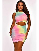 cheap -Women's Sheath Dress Short Mini Dress - Sleeveless Tie Dye Print Summer Sexy Daily 2020 Rainbow S M L XL