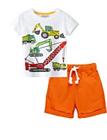 cheap -Kids Boys' Basic Print Short Sleeve Clothing Set Orange