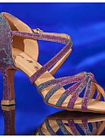 cheap -Women's Dance Shoes Latin Shoes Heel Flared Heel Black / Purple / Leather