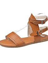 cheap -Women's Sandals Roman Shoes / Gladiator Sandals Summer Flat Heel Open Toe Daily PU White / Black / Brown
