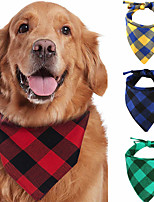 cheap -Dog Cat Bandanas & Hats Dog Bandana Dog Bibs Scarf Plaid / Check Casual / Sporty Cute Sports Casual / Daily Dog Clothes Adjustable Black Yellow Red Costume Cotton