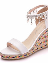 cheap -Women's Sandals Summer Wedge Heel Peep Toe Daily PU White