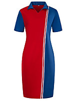 cheap -Women's Sheath Dress Knee Length Dress - Short Sleeves Color Block Summer Work 2020 Wine Red Green Dusty Blue XL XXL XXXL XXXXL XXXXXL