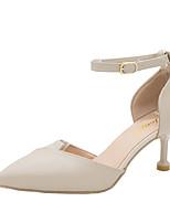 cheap -Women's Heels Summer Kitten Heel Pointed Toe Minimalism Daily Solid Colored PU Black / Beige