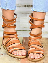cheap -Women's Sandals Roman Shoes / Gladiator Sandals Summer Flat Heel Open Toe Daily PU Dark Brown